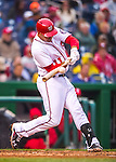 28 April 2016: Washington Nationals first baseman Ryan Zimmerman connects in the 7th inning against the Philadelphia Phillies at Nationals Park in Washington, DC. The Phillies shut out the Nationals 3-0 to sweep their mid-week, 3-game series. Mandatory Credit: Ed Wolfstein Photo *** RAW (NEF) Image File Available ***