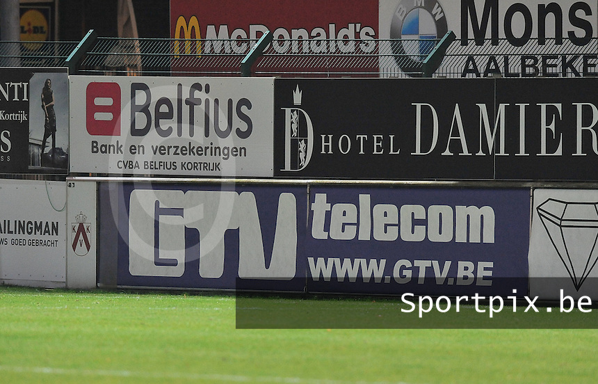 KV Kortrijk - RAEC Mons Bergen : reclamebord GTV Telecom .foto VDB / BART VANDENBROUCKE