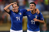 Federico Chiesa and Riccardo Orsolini of Italy celebrate at the end of the match <br /> Bologna 16-06-2019 Stadio Renato Dall'Ara <br /> Football UEFA Under 21 Championship Italy 2019<br /> Group Stage - Final Tournament Group A<br /> Italy - Spain <br /> Photo Andrea Staccioli / Insidefoto