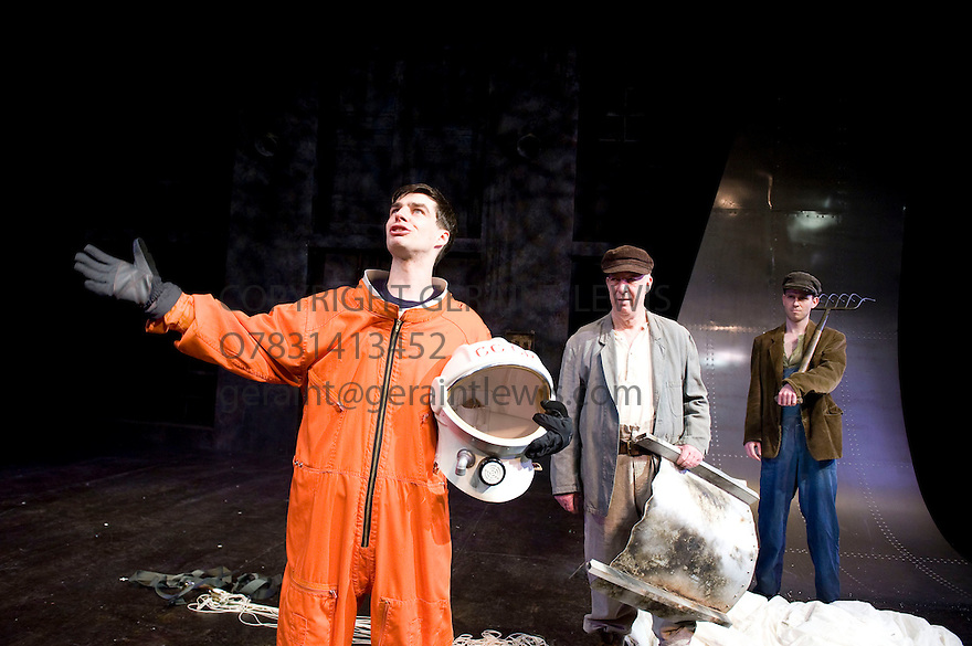 Little Eagles by Rona Munro. A Royal Shakespeare Company Production directed by Roxana Silbert. With Dyfan Dwyfor as Yuri Gagarin, Sandy Neilson as Yakov,Joseph Arkley as Farmer. Opens at The Hampstead  Theatre on 21/4/11 CREDIT Geraint Lewis