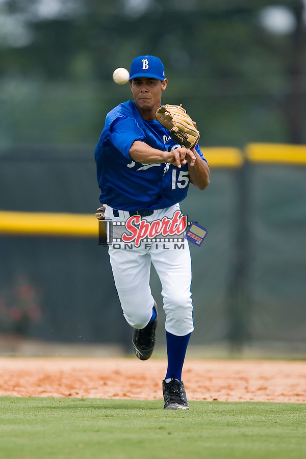 Burlington third baseman Antonio Jimenez (15) fires a throw to first base versus Kingsport at Burlington Athletic Park in Burlington, NC, Monday, July 30, 2007.