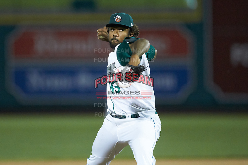 Fort Wayne TinCaps relief pitcher Austin Smith (33) in action against the Bowling Green Hot Rods at Parkview Field on August 20, 2019 in Fort Wayne, Indiana. The Hot Rods defeated the TinCaps 6-5. (Brian Westerholt/Four Seam Images)