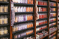 Scented candles on display ant the Yankee Candle store, Deerfield, Massachusetts, USA.