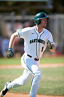 Dartmouth Big Green catcher Kyle Holbrook (9) runs to first base during a game against the Villanova Wildcats on March 3, 2018 at North Charlotte Regional Park in Port Charlotte, Florida.  Dartmouth defeated Villanova 12-7.  (Mike Janes/Four Seam Images)