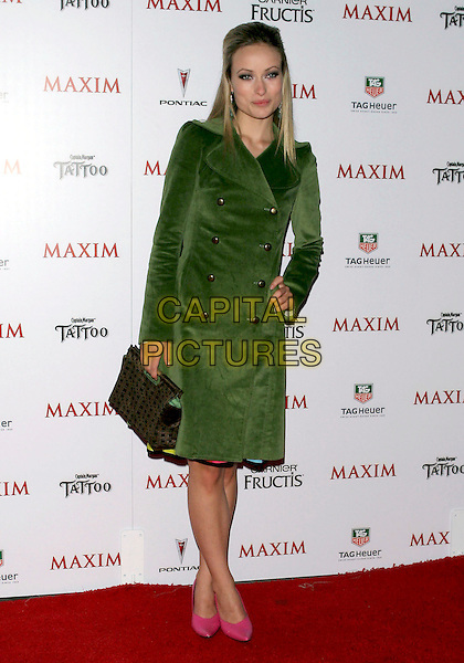 OLIVIA WILDE.Maxim Magazine's Hot 100 held at the Montmartre Lounge. Hollywood, California.May 14th, 2005.Photo Credit: Jacqui Wong/AdMedia.full length green suede coat jacket pink shoes black purse bag.www.capitalpictures.com.sales@capitalpictures.com.© Capital Pictures.