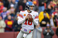 Landover, MD - December 9, 2018: New York Giants quarterback Eli Manning (10) drops back to pass the bal during game between the New York Giants and Washington Redskins at FedEx Field in Landover, MD. The Giants defeated the Redskins 40-16 dropping the Redskins to 6-7 on the season. (Photo by Phillip Peters/Media Images International)