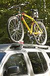 Mountain bike on car rack.