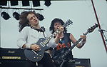 Dio at Castle Donnington Monsters of Rock , England Aug 1983 . Vivian Campbell, Jimmy Bain