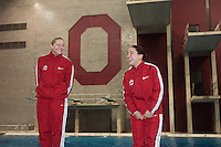 The Ohio State Divers Chelsea Davis &amp; Bianca Alvarez celebrate their first and second place finishes on 3 Meter during the the NCAA Division I National Championships. <br /> McCorkle Aquatic Center, The Ohio State University,