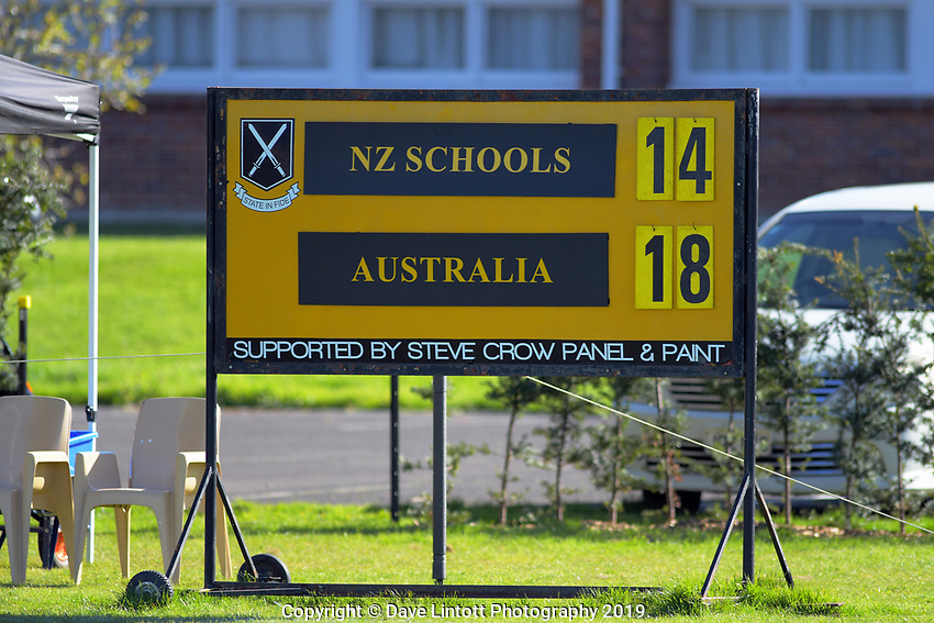 The final scoreboard of the rugby union match between New Zealand Schools and Australia Under-18s at St Paul's Collegiate in Hamilton, New Zealand on Friday, 4 October 2019. Photo: Dave Lintott / lintottphoto.co.nz