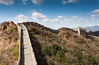 Visitors hiking the Great Wall of China, Jinshanling Section, Beijing