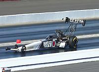 Feb 13, 2016; Pomona, CA, USA; NHRA top fuel driver Antron Brown during qualifying for the Winternationals at Auto Club Raceway at Pomona. Mandatory Credit: Mark J. Rebilas-USA TODAY Sports