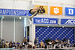 18 February 2016: Notre Dame's Zane Parker competes in the Men's 1 Meter Diving preliminary. The 2016 Atlantic Coast Conference Swimming and Diving Championships were held at the Greensboro Aquatic Center in Greensboro, North Carolina from February 17-27, 2016.