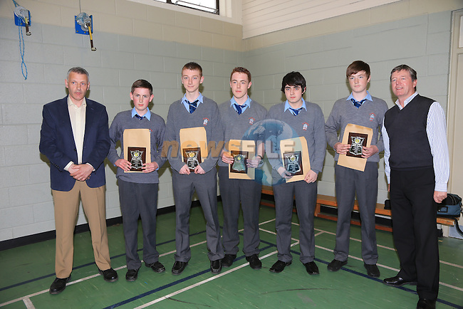 Tom Ryan, Gerard McKeown, Jordie Myers, Tommy Dennis, Daniel Byrne and Shane Morgan with Des Smith Academic achievement award.at the St Josephs CBS awards night..Picture:  www.newsfile.ie
