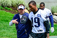 June 7, 2017: New England Patriots offensive coordinator Josh McDaniels talks to wide receiver Malcolm Mitchell (19) on the way to the practice fields  at the New England Patriots mini camp held on the practice field at Gillette Stadium, in Foxborough, Massachusetts. Eric Canha/CSM