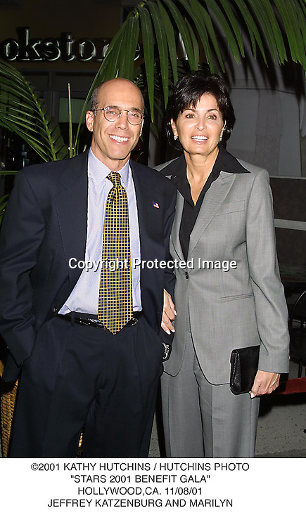 "©2001 KATHY HUTCHINS / HUTCHINS PHOTO.""STARS 2001 BENEFIT GALA"".HOLLYWOOD,CA. 11/08/01.JEFFREY KATZENBURG AND MARILYN"