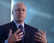 Washington, DC - April 8, 2014: New Orleans Mayor Mitch Landrieu participates in a panel discussion at the Aspen Institute's 'Symposium on The State of Race in America' at the Newseum in the District of Columbia.  (Photo by Don Baxter/Media Images International)