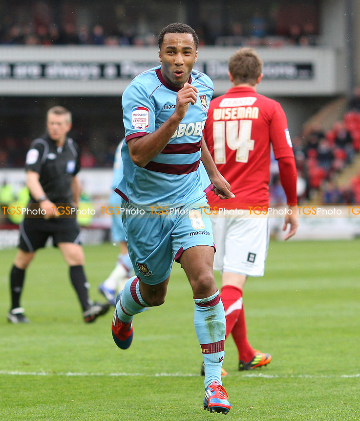 Nicky Maynard celebrates after scoring the 2nd goal for West Ham - Barnsley vs West Ham United, npower Championship at Oakwell Stadium, Barnsley - 06/04/12 - MANDATORY CREDIT: Rob Newell/TGSPHOTO - Self billing applies where appropriate - 0845 094 6026 - contact@tgsphoto.co.uk - NO UNPAID USE.