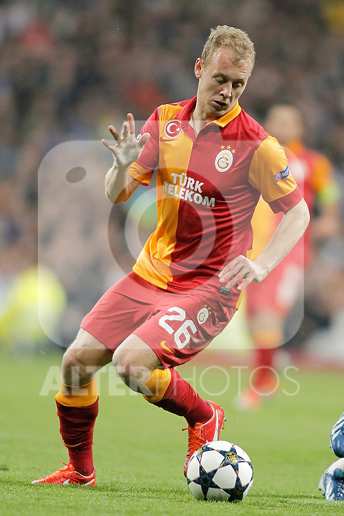 Galatasaray's Semih Kaya during UEFA Champions League match. April 03, 2013. (ALTERPHOTOS/Alvaro Hernandez)
