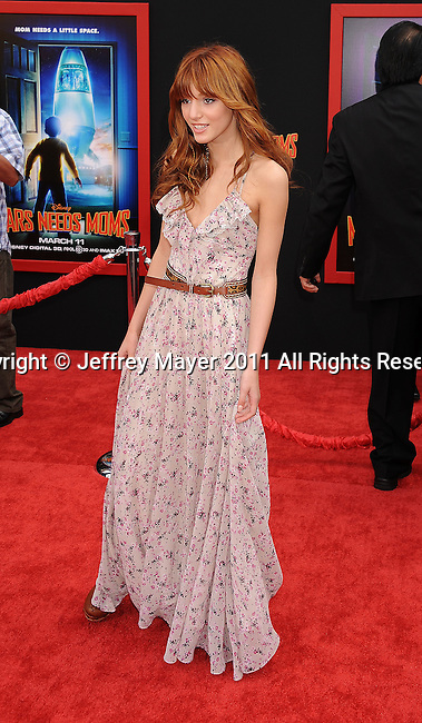 """HOLLYWOOD, CA - MARCH 06: Bella Thorne arrives at """"Mars Needs Moms 3D"""" Los Angeles Premiere at the El Capitan Theatre on March 6, 2011 in Hollywood, California"""