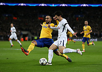 Tottenham Hotspur's Son Heung-Min and Medhi Benatia of Juventus<br /> <br /> Photographer Rob Newell/CameraSport<br /> <br /> UEFA Champions League Round of 16 Second Leg - Tottenham Hotspur v Juventus - Wednesday 7th March 2018 - Wembley Stadium - London <br />  <br /> World Copyright &copy; 2017 CameraSport. All rights reserved. 43 Linden Ave. Countesthorpe. Leicester. England. LE8 5PG - Tel: +44 (0) 116 277 4147 - admin@camerasport.com - www.camerasport.com