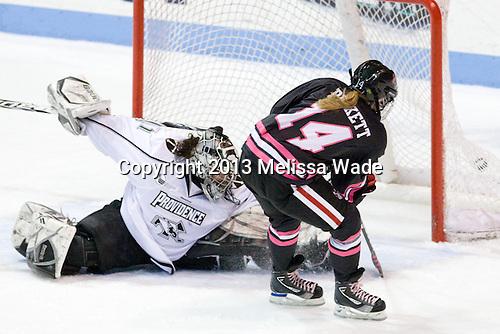 Nina Riley (PC - 1), Casey Pickett (NU - 14) - The Northeastern University Huskies defeated the visiting Providence College Friars 8-7 on Sunday, January 20, 2013, at Matthews Arena in Boston, Massachusetts.