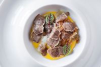 International White Truffle Fair, Alba, Piedmont   - Antipasto dish with fresh local tartufo bianco (white truffle) with eggs - prepared at Ristorante Da Francesco, Cherasco, near Alba in Le Langhe area of Piedmont