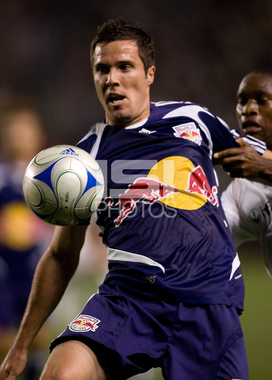 Red Bulls defender Hunter Freeman (3) concentrates on the ball during a MLS match. The New York Red Bulls defeated the LA Galaxy 2-1 at Home Depot Center Stadium, in Carson, Calif., on Saturday, May 10, 2008.