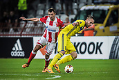 14th September 2017, Red Star Stadium, Belgrade, Serbia; UEFA Europa League Group stage, Red Star Belgrade versus BATE; Defender Marko Gobeljic of Red Star Belgrade is beaten by the quick turn