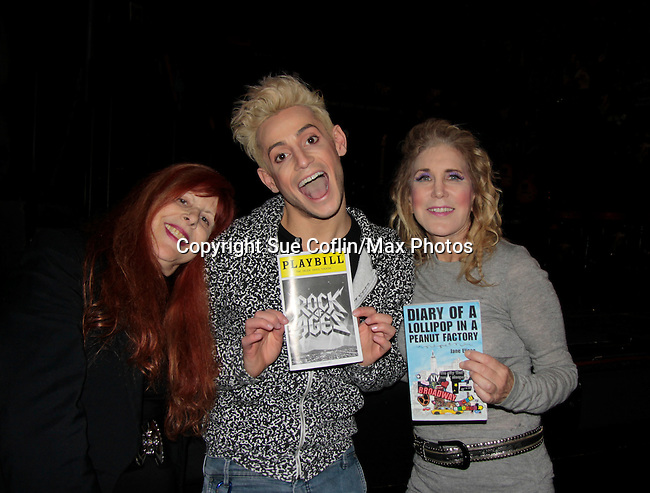 Ilene Zatkin-Butler (R) won a walk on role on Broadway's Rock of Ages starring Big Brother's Frankie J. Grande (brother of Ariana Grande) at the Helen Hayes Theatre, NYC, NY on December 17, 2014 while attending The Jane Elissa Extravaganza 2014 - 19 years - benefiting the Jane Elissa/Charlotte Meyer Endowment Fund which raises revenue that directly supports the research  of the Leukemia/Lymphoma Society. The grant goes to an individual researcher. (Photo by Sue Coflin/Max Photos)