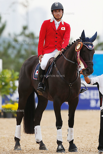 Ryuzo Kitajima (JPN), <br /> SEPTEMBER 26, 2014 - Equestrian : <br /> Eventing Jumping Medal ceremony <br /> at Dream Park Equestrian Venue <br /> during the 2014 Incheon Asian Games in Incheon, South Korea. <br /> (Photo by AFLO SPORT)