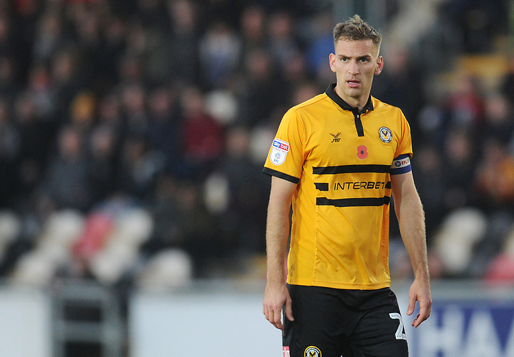 Newport County's Mickey Demetriou<br /> <br /> Photographer Kevin Barnes/CameraSport<br /> <br /> The EFL Sky Bet League Two - Newport County v Colchester United - Saturday 17th November 2018 - Rodney Parade - Newport<br /> <br /> World Copyright © 2018 CameraSport. All rights reserved. 43 Linden Ave. Countesthorpe. Leicester. England. LE8 5PG - Tel: +44 (0) 116 277 4147 - admin@camerasport.com - www.camerasport.com