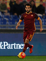 Calcio, Serie A: Roma vs Milan. Roma, stadio Olimpico, 9 gennaio 2016.<br /> Roma's Mohamed Salah in action during the Italian Serie A football match between Roma and Milan at Rome's Olympic stadium, 9 January 2016.<br /> UPDATE IMAGES PRESS/Riccardo De Luca