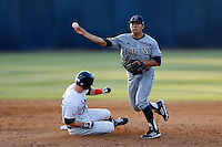 Chris Rabago #22 of the UC Irvine Anteaters throws to first base after getting the force out at second base during a game against the Cal State Fullerton Titans at Goodwin Field on May 18, 2013 in Fullerton, California. Fullerton defeated UC Irvine, 3-2. (Larry Goren/Four Seam Images)