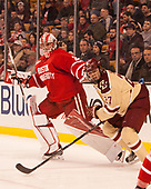 Jake Oettinger (BU - 29), Graham McPhee (BC - 27) - The Boston University Terriers defeated the Boston College Eagles 3-1 in their opening Beanpot game on Monday, February 6, 2017, at TD Garden in Boston, Massachusetts.