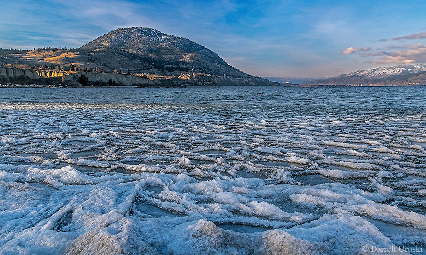 Fine Art Landscape Photograph of Ice crystals forming on Okanagan Lake in British Columbia Canada. <br />