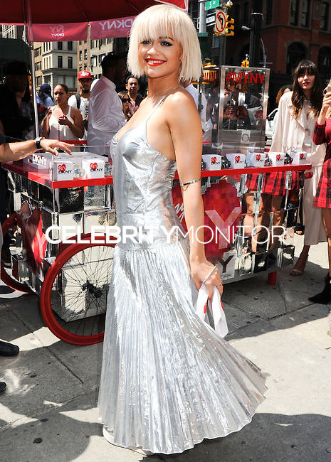NEW YORK CITY, NY, USA - AUGUST 19: Rita Ora at the DKNY MYNY fragrance launch celebration held at Madison Square Park on August 19, 2014 in New York City, New York, United States. (Photo by Celebrity Monitor)