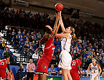 BROOKINGS, SD - DECEMBER 3: 	Tagyn Larson #24 from South Dakota State shoots over Bionca Dunham #33 from Louisville during their game Sunday afternoon at Frost Arena in Brookings, SD.  (Photo by Dave Eggen/Inertia)