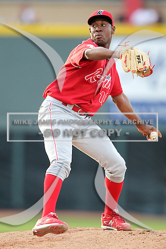 Reading Phillies pitcher Yohan Flande (10) during a game vs. the Erie Seawolves at Jerry Uht Park in Erie, Pennsylvania;  July 19, 2010.   Reading defeated Erie 6-1.  Photo By Mike Janes/Four Seam Images
