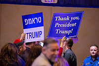 LAS VEGAS, NV - April 6, 2019: Trump Supporters pictured as President Donald J. Trump pictured  addresses The Republican Jewish Coalition Annual Leadership Meeting at The Venetian Resort  in Las Vegas, NV on April 6, 2019.     <br /> CAP/MPI/EKP<br /> ©EKP/MPI/Capital Pictures