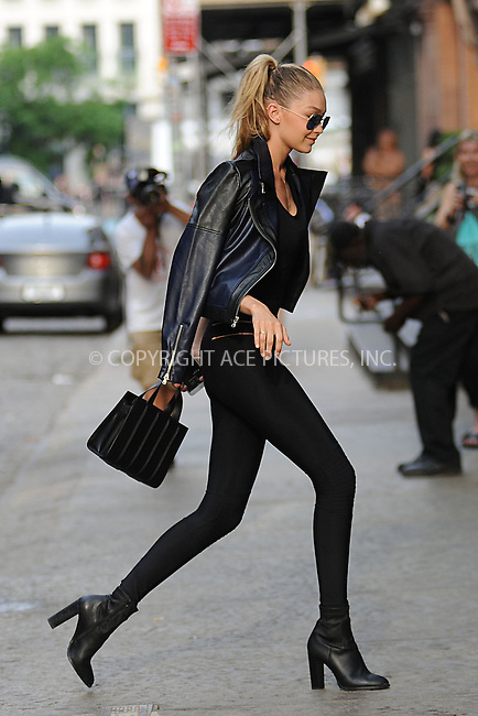 WWW.ACEPIXS.COM<br /> May 28, 2015 New York City<br /> <br /> Gigi Hadid arrives to Taylor Swift's apartment in New York City on May 28, 2015.<br /> <br /> By Line: Kristin Callahan/ACE Pictures<br /> <br /> Tel: 646 769 0430<br /> Email: info@acepixs.com<br /> www.acepixs.com