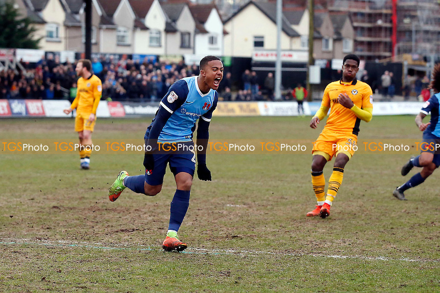 O's Josh Koroma celebrates after scoring his hat trick from the penalty spot during Newport County vs Leyton Orient, Sky Bet EFL League 2 Football at Rodney Parade on 4th March 2017