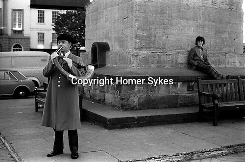 Ripon Hornblower, Brian Waines, the Wakeman sounds the ancient Charter horn once at each corner of the market square obelisks at 9.00 pm every night of the year. The custom of &lsquo;Setting the Watch' has been carried out for 1128 years. It is the longest ongoing unbroken daily ceremony in the world. <br /> In 1974, the Horn Blower was paid &pound;1-00 per night plus 14p travelling expenses. <br /> <br /> My ref 29/824/1974