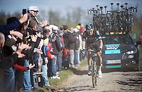 Luke Rowe (GBR/SKY) at the Carrefour de l&rsquo;Arbre (2.1 km)<br /> <br /> 114th Paris-Roubaix 2016