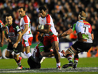 Heineken Cup. London, England. Seremaia Burotu of Biarritz is tackled during the Heineken Cup Pool 3 match between Harlequins and Biarritz Olympique at Twickenham Stoop on October 13, 2012 in London, England.