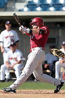 Evan Mistich (9) of the Oklahoma Sooners bats against the Pepperdine Waves at Eddy D. Field Stadium on February 18, 2012 in Malibu,California. Pepperdine defeated Oklahoma 10-0.(Larry Goren/Four Seam Images)