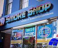 A smoke shop in Downtown Brooklyn in New York on Friday, August 29, 2014 sells hookahs and other accoutrements needed for the habit of smoking. (© Richard B. Levine)