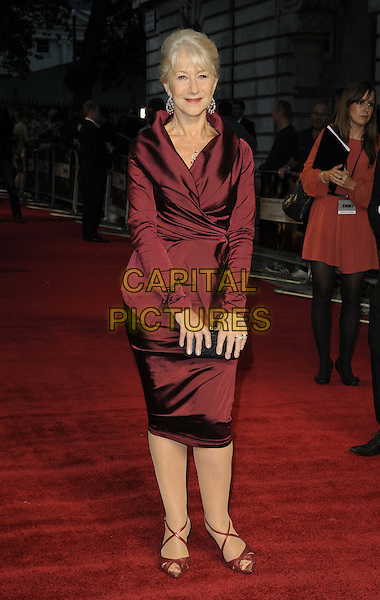 "HELEN MIRREN .""The Debt"" UK premiere, Curzon Mayfair cinema, Curzon St., London, England..September 21st, 2011.full length red maroon burgundy wrap jacket skirt  black clutch bag.CAP/CAN.©Can Nguyen/Capital Pictures."