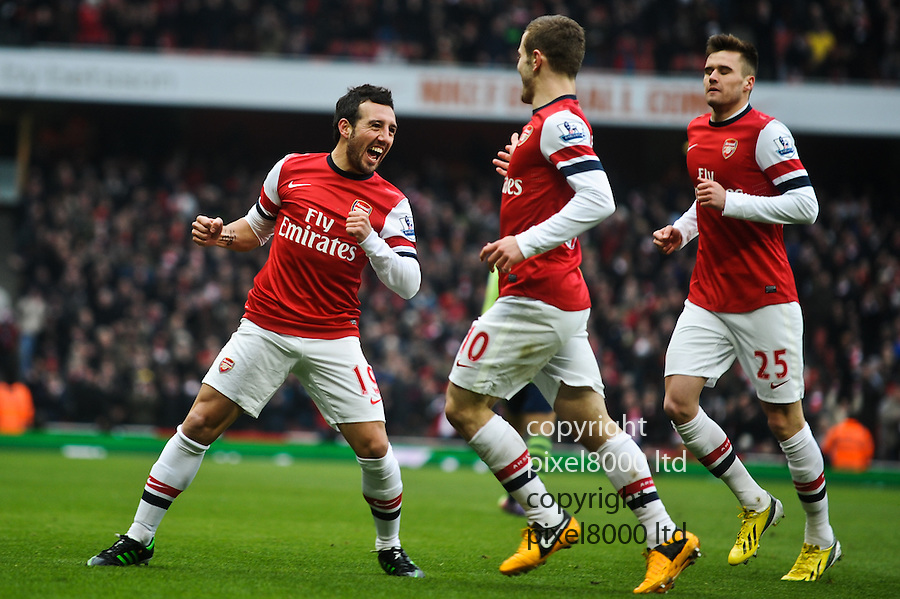 Santi Cazorla of Arsenal scores for 1-0 during the  English Premier League soccer match between Arsenal and Aston Villa in London,UK, 23 February 2013.THOMAS CAMPEAN/Pixel8000 Ltd...