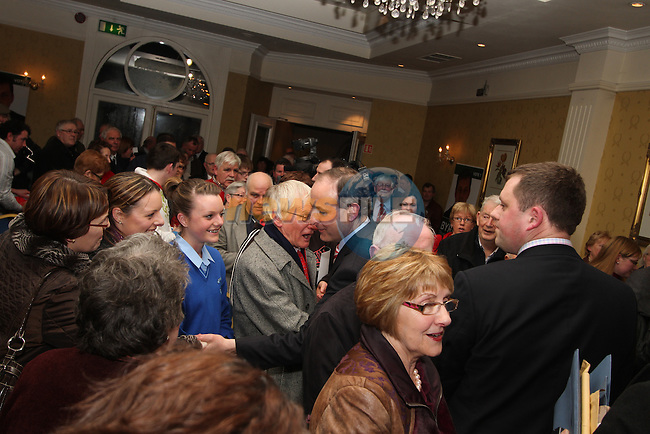 Standing Ovation for Micheál Martin and Thomas Byrne at the Fianna Fail Rally in The Headfort Arms, Kells...(Photo credit should read Jenny Matthews www.newsfile.ie)....This Picture has been sent you under the conditions enclosed by:.Newsfile Ltd..The Studio,.Millmount Abbey,.Drogheda,.Co Meath..Ireland..Tel: +353(0)41-9871240.Fax: +353(0)41-9871260.GSM: +353(0)86-2500958.email: pictures@newsfile.ie.www.newsfile.ie.